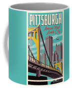 Pittsburgh Poster - Vintage Travel Bridges Coffee Mug by Jim Zahniser