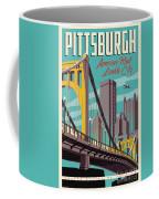 Pittsburgh Poster - Vintage Travel Bridges Coffee Mug