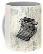 Vintage Typewriter French Letters Square Format Coffee Mug