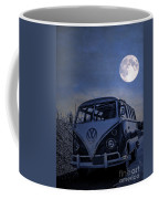 Vintage Vw Bus Parked At The Beach Under The Moonlight Coffee Mug