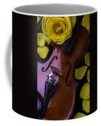 Violin With Yellow Rose Coffee Mug