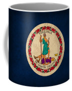 Virginia State Flag Art On Worn Canvas Coffee Mug