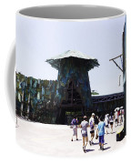 Visitors Heading Towards The Waterworld Attraction At Universal Studios Coffee Mug