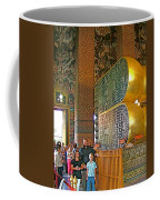 Visitors Pass Bottoms Of Feet Of Reclining Buddha In Wat Po In B Coffee Mug