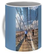Walkers And Joggers On The Brooklyn Bridge Coffee Mug by Amy Cicconi