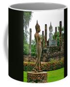 Walking And Sitting Buddha Images At Wat Sa Si In Sukhothai Historical Park-thailand Coffee Mug