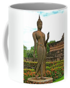 Walking Buddha Image In Wat Sa Si In Sukhothai Historical Park-t Coffee Mug