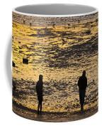 Strangers On A Shore - Walking Silhouettes Coffee Mug