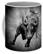 Wall Street Bull Black And White Coffee Mug
