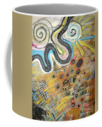 Wandering In Thought2 Original Abstract Colorful Landscape Painting For Sale Yellow Blue Green Coffee Mug