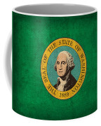 Washington State Flag Art On Worn Canvas Coffee Mug