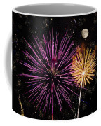 Watching Pink And Gold Explosion - Fireworks And Moon II Coffee Mug