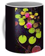 Water Lilies With Pink Flowers - Vertical Coffee Mug