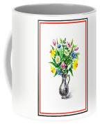 Watercolor Flowers Bouquet In Metal Pitcher Impressionism Coffee Mug