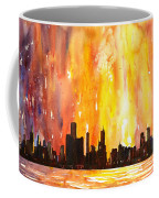 Watercolor Painting Of Skycrapers Of Downtown Chicago As Viewed  Coffee Mug