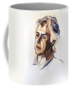 Watercolor Portrait Sketch Of A Man In Monochrome Coffee Mug