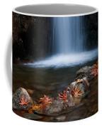Waterfall And Leaves In Autumn Coffee Mug