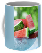 Watermelon Wedges In A Bowl Of Ice Cubes Coffee Mug