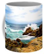 Waves Crashing On Shoreline Rocks Coffee Mug