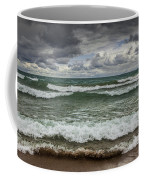 Waves Crashing On The Shore In Sturgeon Bay At Wilderness State Park Coffee Mug