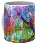 Weeping Beauty, Cherry Blossom Tree And Heron Coffee Mug