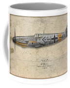 Werner Molders Messerschmitt Bf-109 - Map Background Coffee Mug