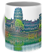 West Gallery From Across Moat In Angkor Wat In Angkor Wat Archeological Park Near Siem Reap-cambodia Coffee Mug