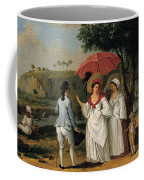West Indian Landscape With Figures Promenading Before A Stream Coffee Mug
