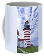 West Quoddy Head Lighthouse And Clouds Coffee Mug