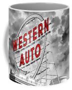 Western Auto Sign Downtown Kansas City B W Coffee Mug by Andee Design