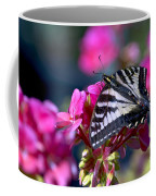 Western Tiger Swallowtail Butterfly On Geranium Coffee Mug