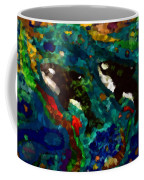 Whales At Sea - Orcas - Abstract Ink Painting Coffee Mug