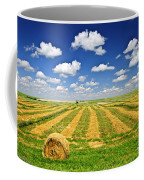 Wheat Farm Field And Hay Bales At Harvest In Saskatchewan Coffee Mug