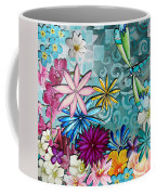 Whimsical Floral Flowers Dragonfly Art Colorful Uplifting Painting By Megan Duncanson Coffee Mug