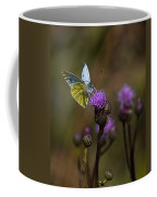White And Yellow Butterfly On Thistl Coffee Mug