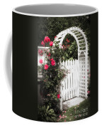 White Arbor With Red Roses Coffee Mug