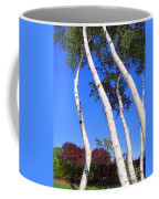 White Birch Blue Sky Coffee Mug