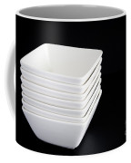 White Bowls On Black Coffee Mug