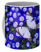 White Butterfly On Blue Cineraria Coffee Mug