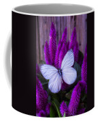 White Butterfly On Flowering Celosia Coffee Mug
