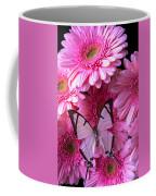 White Butterfly On Pink Gerbera Daisies Coffee Mug