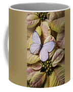 White Butterfly On Poinsettia Coffee Mug