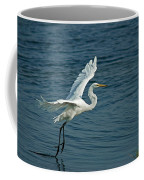 White Egret Landing Coffee Mug