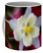 White Flower On Red Background Coffee Mug