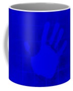 White Hand Blue Coffee Mug