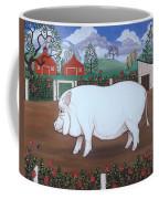 White Hog And Roses Coffee Mug