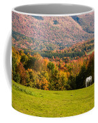 White Horses Grazing With View Of Green Mtns Coffee Mug