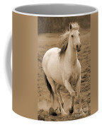 White Mare Approaches Number One Close Up Sepia Coffee Mug
