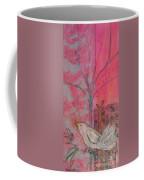 White Peace Bird On Pink Coffee Mug