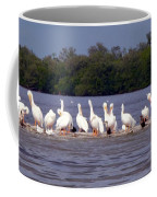 White Pelicans And Little Friends Coffee Mug